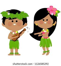 Hawaiian children playing music and hula dancing.