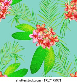Hawaiian floral seamless patern with watercolor tropical flowers. Plumeria. Vintage exotic print. Colorful summer nature background.
