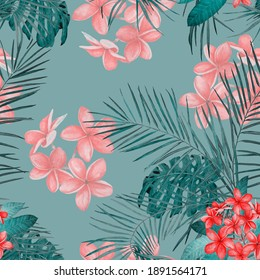 Hawaiian floral seamless pattern with watercolor tropical leaves and flowers. Exotic Plumeria and Heliconia. Tropical summer print.