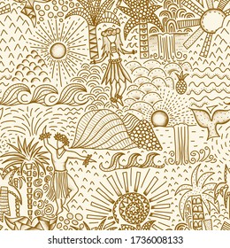 Hawaiian Hula dancers seamless pattern. Repeating background with men and women dancing hula, waves, waterfalls, palm trees, whales. Toile style. Lithographie pattern for fabric, wallpaper, packaging