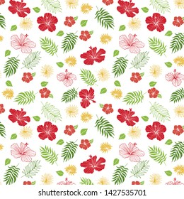 Hawaiian rose pattern with palm leaves
