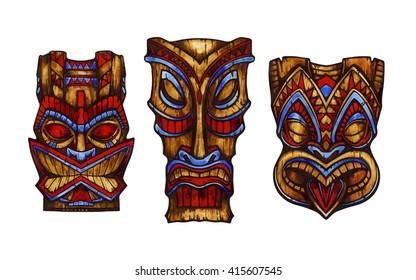 Hawaiian tiki god statue carved wood. Watercolor illustration