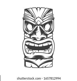 Hawaiian traditional tribal tiki mask in vintage monochrome style isolated  illustration