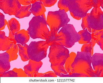 Hawaiian watercolor pattern. Pink red floral tropical seamless print. Hibiscus and oleander in Hawaii. Aloha swimwear design. Exotic bouquet fashion illustration. Watercolour horizontal tile.