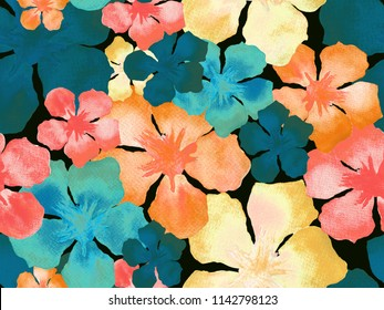 Hawaiian watercolor pattern. Rainbow floral tropical seamless print. Hibiscus and oleander in Hawaii. Aloha swimwear design. Exotic bouquet fashion illustration. Watercolour horizontal tile.