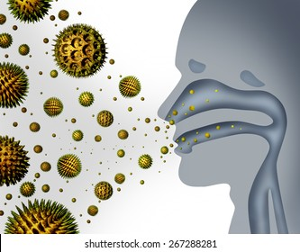 Hay fever and pollen allergies medical allergy concept as a microscopic organic pollination particles flying in the air with a human breathing diagram as a health care symbol of seasonal illness.