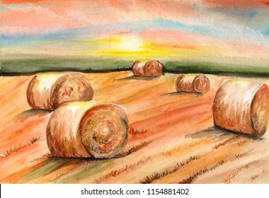 A haystack of watercolor. Landscape of the autumn field. Flour of wheat.