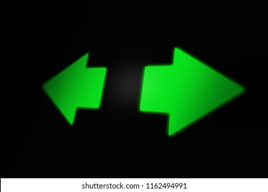 Hazard Lights, Left-Right Turn Signal Blinking on Car Dashboard. 3D illustration.