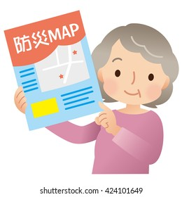 """hazard map and senior woman comment of map is """"hazard map"""" in Japanese"""