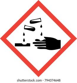 Hazard sign with corrosive substances symbol