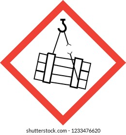 Hazard sign with suspended loads symbol