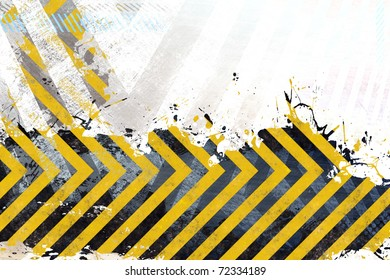 A hazard stripes background with grungy splatter textures isolated over white.