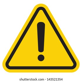 Hazard warning attention sign with exclamation mark symbol