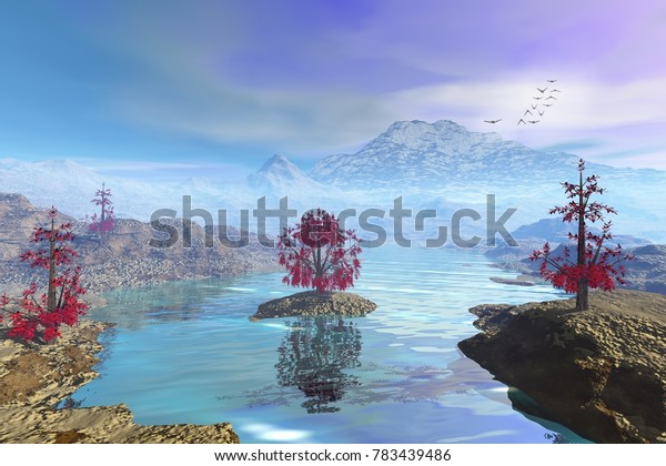 Haze and cloudy environment, 3D rendering, a natural landscape, wonderful waters, beautiful trees with red leaves and birds in the sky.