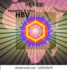 HBV - hepatitis B virus The symbol of a virus lies on a map of Africa. Rays, starting from the virus, illustrate the spread. Inscription: HBV – Hepatitis B virus