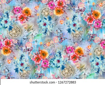 HD Wallpaper floral Colorful Image  Color Painting Pattern Background Allover
