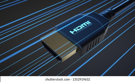 HDMI connector whit information rays on dark background. 3D Illustration.