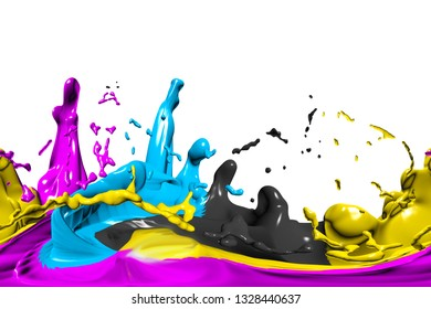 hdri background with cmyk color on white, 3d illustration
