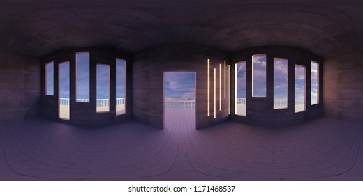 HDRI environment map, abstract spherical panorama background, empty room, with beautiful view (3d equirectangular rendering)