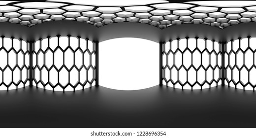 HDRI environment map, abstract spherical panorama background, interior light source rendering with hexagon pattern (3d illustration)