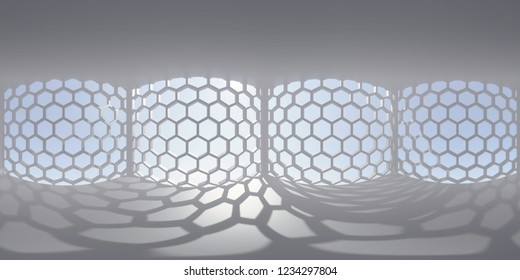 HDRI environment map, abstract spherical panorama background, interior light source rendering with hexagon pattern windows and blue sky (3d rendering)