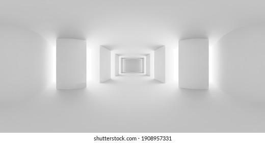 HDRI environment map of abstract white empty white hall with white floor, ceiling and columns, white colorless 360 degrees spherical panorama background, 3d illustration