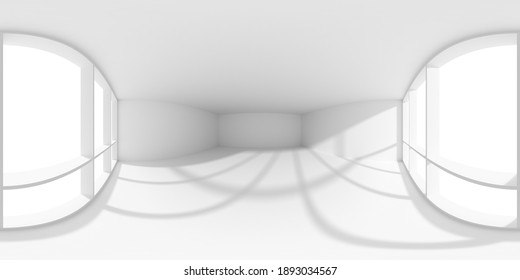 HDRI environment map of empty white business office room with empty space and sun light from large window, colorless white 360 degrees spherical panorama background 3d illustration