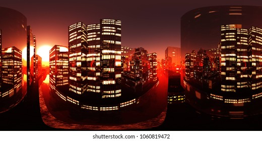 HDRI, Environment map, Equirectangular projection, Spherical panorama. Night city 3D rendering
