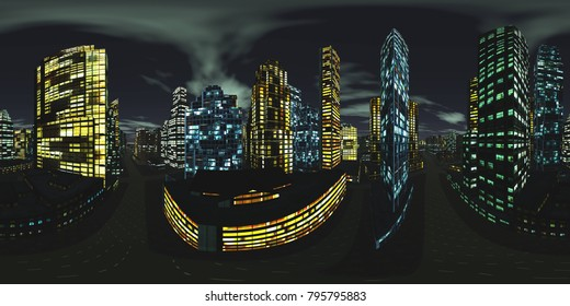 HDRI, Environment map, Equirectangular projection, Spherical panorama. Night city,  3D rendering