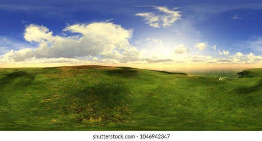 HDRI, environment map ,Round panorama, spherical panorama, equidistant projection, landscape of the countryside, 3D rendering