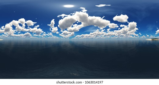 HDRI, environment map ,Round panorama, spherical panorama, equidistant projection, the sun is over water 3d rendering