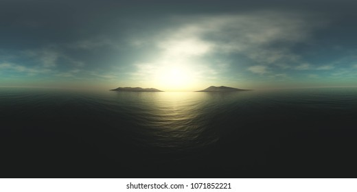 HDRI, environment map, Round panorama, spherical panorama, equidistant projection, sea sunset, 3D rendering