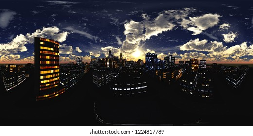 HDRI, environment map , Round panorama, spherical panorama, equidistant projection, land under heaven, Night city. 3d rendering