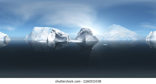 HDRI, environment map , Round panorama, spherical panorama, equidistant projection, Winter ocean landscape, 3d rendering