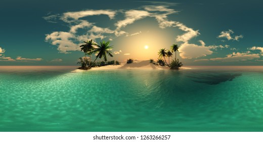 HDRI, environment map , Round panorama, spherical panorama, equidistant projection, panorama 360, Beautiful beach with palm trees, tropical seascape, 3d rendering