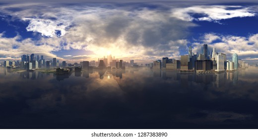 HDRI, environment map , Round panorama, spherical panorama, equidistant projection, panorama 360, Modern city at sunrise in the fog over the water, skyscrapers at sunset over the water, 3d rendering