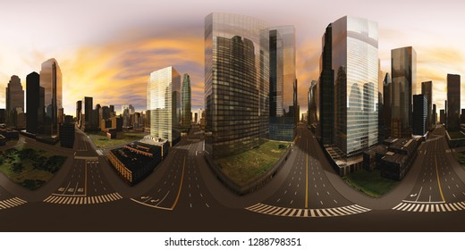 HDRI, environment map , Round panorama, spherical panorama, equidistant projection, panorama 360, Modern city at sunrise, 3d rendering