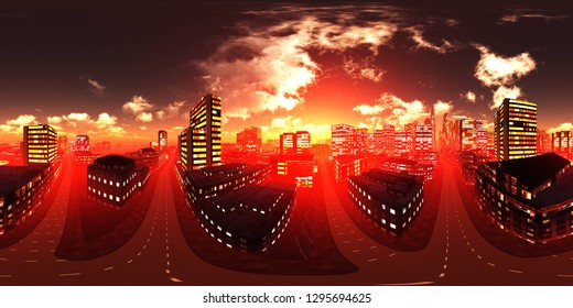 HDRI, environment map , Round panorama, spherical panorama, equidistant projection, panorama 360, Night city, modern city on the background of the sunset sky, night skyscrapers, 3d rendering