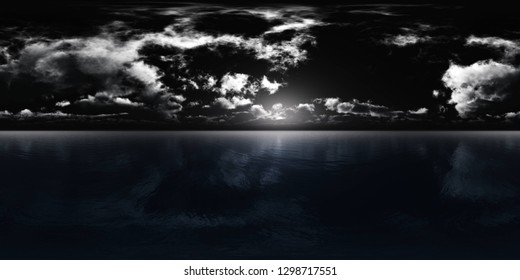 HDRI, environment map , Round panorama, spherical panorama, equidistant projection, panorama 360, Night landscape, the moon above the water, 3d rendering
