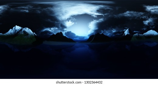 HDRI, environment map , Round panorama, spherical panorama, equidistant projection, panorama 360, Lake in the mountains at night, the moon above the lake in the mountains, 3d rendering