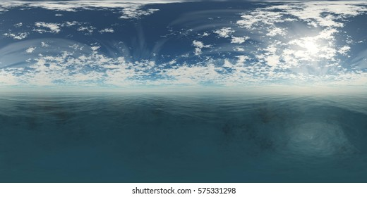 HDRI, environment map, Round panorama, spherical panorama, equidistant projection, sea sunset , 3d rendering