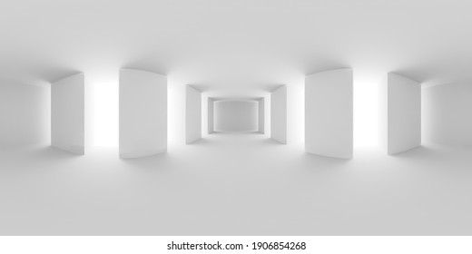 HDRI environment map of white abstract empty white hall with white floor, ceiling and columns, white colorless 360 degrees spherical panorama background, 3d illustration.