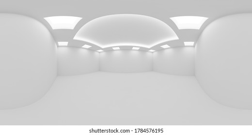 HDRI environment map of white empty room with white wall, floor and ceiling with square embedded ceiling lamps and hidden ceiling lights, 360 degrees spherical panorama background, 3d illustration
