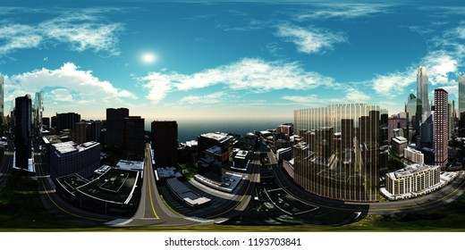 HDRI, Equirectangular projection, Spherical panorama., Cityscape, Environment map 3D rendering