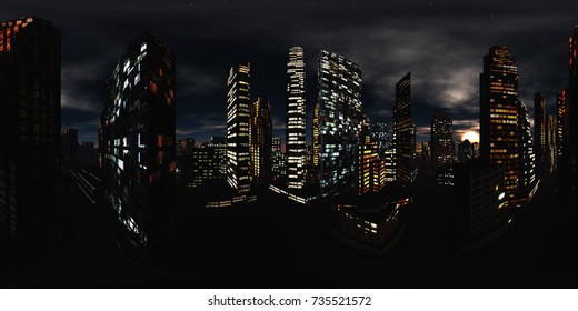 HDRI. Equirectangular projection. Spherical panorama., Night city, Cityscape, Environment map 3d rendering