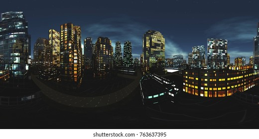 HDRI, Equirectangular projection, Spherical panorama., Night city,, Cityscape, Environment map, 3D rendering