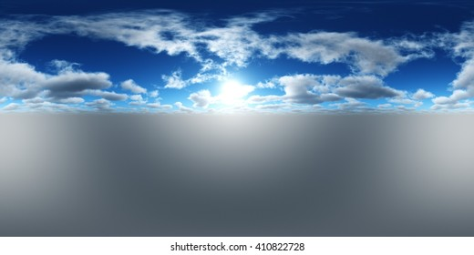 HDRI High resolution map, environment map, Round panorama, spherical panorama, equidistant projection of the sun in the clouds above the earth, 3D rendering