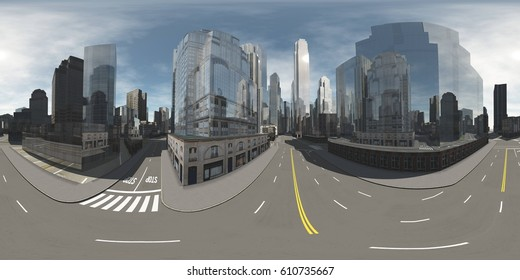 HDRI map. Panorama of the city. Environment map. Equirectangular projection. Spherical panorama. 3D rendering