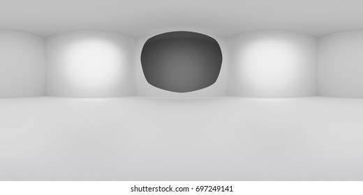 HDRi map of white cube with rounded light source for 3D rendering or VR