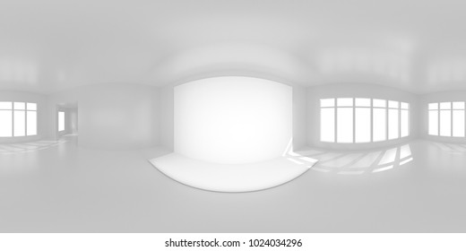 HDRi map white room with light source for 3D rendering or VR